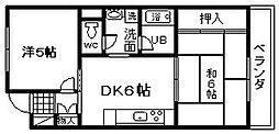 ロイヤルコーポ忠岡[4階]の間取り