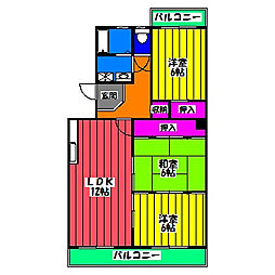 福岡県福岡市博多区板付5丁目の賃貸マンションの間取り
