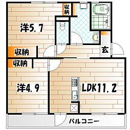 浅川100棟リノベ[3階]の間取り