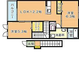 福岡県北九州市若松区東二島3丁目の賃貸アパートの間取り