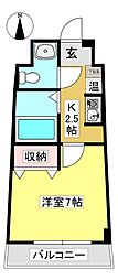 セラヴィ坂崎 3階1Kの間取り