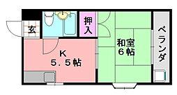 平野西シャルマン[107号室]の間取り