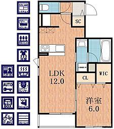ベル ラーゴ・I 1階1LDKの間取り