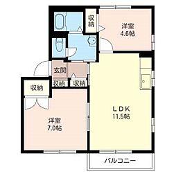 フォーレス M・K[2階]の間取り