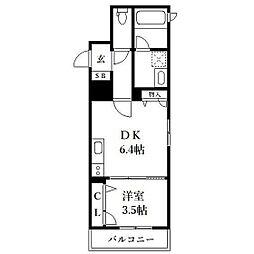 西鉄天神大牟田線 大橋駅 徒歩7分の賃貸マンション 3階1DKの間取り