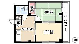 愛知県名古屋市千種区松竹町1丁目の賃貸アパートの間取り