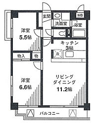 戸塚区戸塚町 ヒルシュガッセ[5階]の間取り