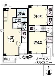 [タウンハウス] 愛知県春日井市熊野町 の賃貸【/】の間取り