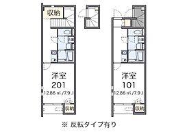 JR青梅線 河辺駅 徒歩11分の賃貸アパート 2階1Kの間取り