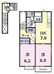 香川県高松市香川町大野の賃貸アパートの間取り