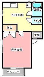 ツインハイツB[1階]の間取り