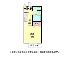 愛知県岩倉市曽野町江毛の賃貸アパートの間取り