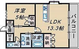 大阪府豊中市上津島3丁目の賃貸アパートの間取り