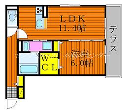 JR伯備線 庭瀬駅 徒歩15分の賃貸アパート 1階1LDKの間取り