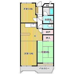 ガーデンヒルズ久松 2階3DKの間取り