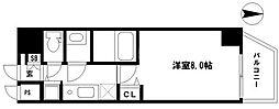 EARTHMANS OSAKA-JO 7階1Kの間取り