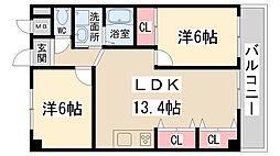 兵庫県伊丹市安堂寺町1丁目の賃貸マンションの間取り