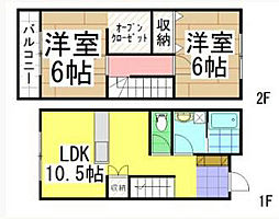 福岡県北九州市八幡西区陣山2丁目の賃貸アパートの間取り