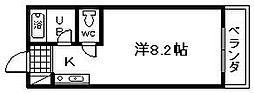 大阪府貝塚市小瀬1丁目の賃貸アパートの間取り