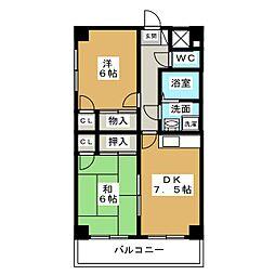 鳥見3−4マンション[4階]の間取り