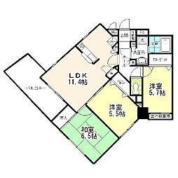 東京都葛飾区柴又7丁目の賃貸マンションの間取り
