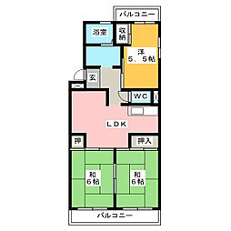 ハイツ雷電[4階]の間取り