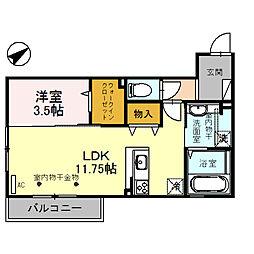 (仮)D-room四十万町[203号室]の間取り
