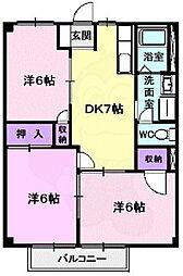 Osaka Metro谷町線 八尾南駅 徒歩22分の賃貸アパート 1階3DKの間取り