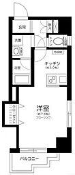東急目黒線 新丸子駅 徒歩4分の賃貸マンション 2階ワンルームの間取り
