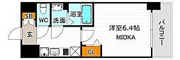 ララプレイス天王寺ルフレ 6階1Kの間取り