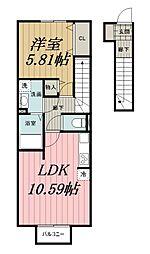 千葉県千葉市若葉区桜木北2丁目の賃貸アパートの間取り