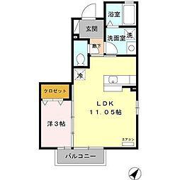 富山県富山市中間島1丁目の賃貸アパートの間取り