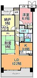 サーパス新荘[6階]の間取り