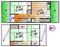 [テラスハウス] 大阪府箕面市西小路4丁目 の賃貸【/】の間取り