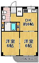 松栄大正ハイツ[4階]の間取り