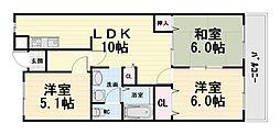 大阪府高石市高師浜1丁目の賃貸マンションの間取り