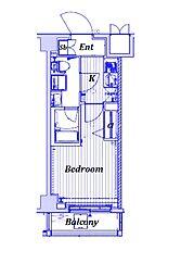 東急東横線 武蔵小杉駅 徒歩10分の賃貸マンション 6階1Kの間取り