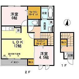 神奈川県相模原市緑区向原1丁目の賃貸アパートの間取り
