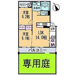 新築ベルカーサH・S[102号室]の間取り