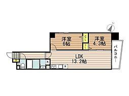 JR京浜東北・根岸線 さいたま新都心駅 徒歩10分の賃貸マンション 3階2LDKの間取り
