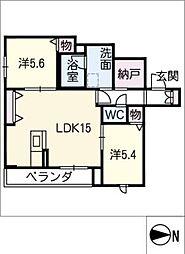Ksquare 2階2SLDKの間取り