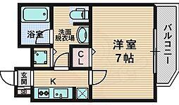 クレアートアドバンス北大阪 12階1Kの間取り