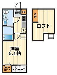 神奈川県大和市中央林間1丁目の賃貸アパートの間取り