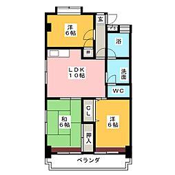 平與マンション[5階]の間取り