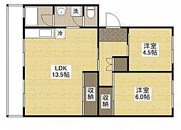 コーポカズタ[3階]の間取り
