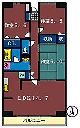 ルーチェ緑ヶ丘A・B・C[A318号室]の間取り