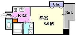 JR山陽新幹線 広島駅 徒歩9分の賃貸マンション 7階1Kの間取り