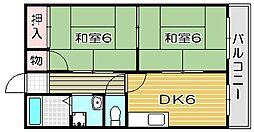 大阪府高槻市富田町6丁目の賃貸アパートの間取り