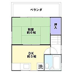 兵庫県神戸市兵庫区熊野町2丁目の賃貸アパートの間取り