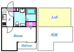 埼玉県さいたま市見沼区東大宮5丁目の賃貸アパートの間取り
